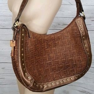 🌵Fossil brown straw weave hobo purse  gold stud